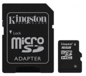 Karta pamięci KINGSTON Micro SDHC 16 GB Class 4 z adapterem SD